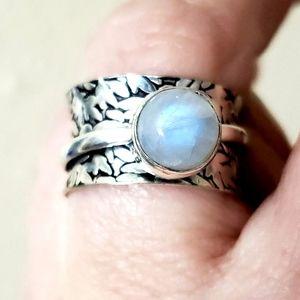 Rainbow Moonstone Silver Spinner Meditation Ring